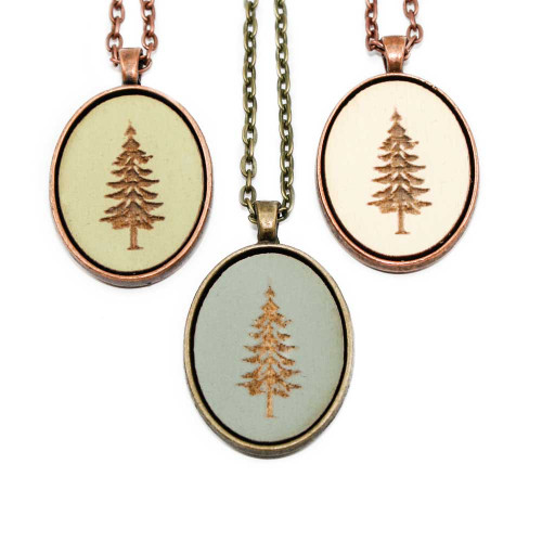 Small Cameo Pendants - Fir Tree