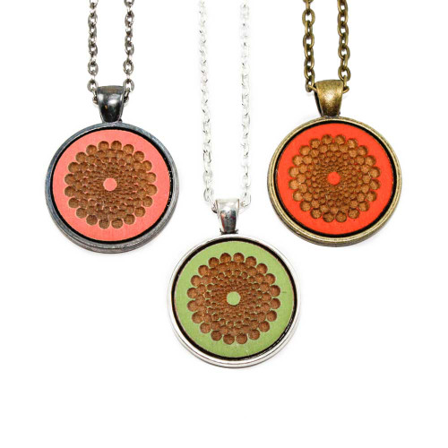 Small Cameo Pendants - Modern Floral (Dot Pattern)