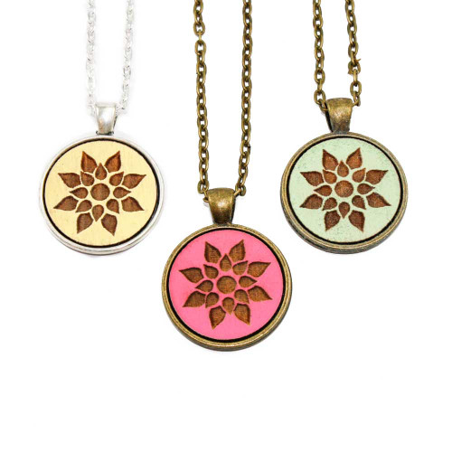 Small Cameo Pendants - Modern Floral (Geo Floral)