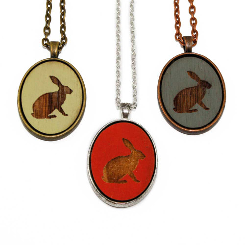 Small Cameo Pendants - Rabbit (Sitting)