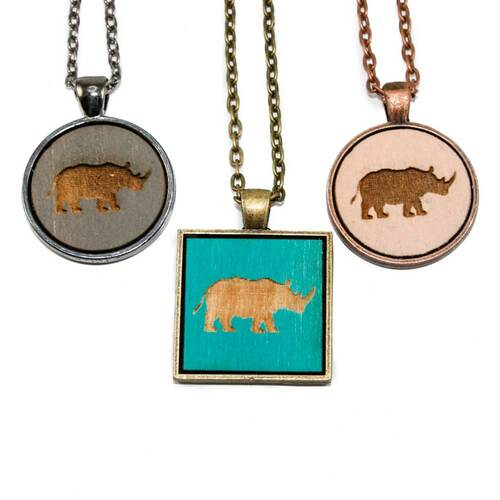 Small Cameo Pendants - Rhino