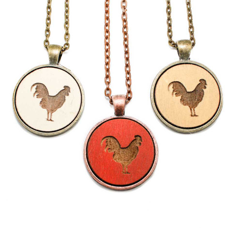 Small Cameo Pendants - Rooster