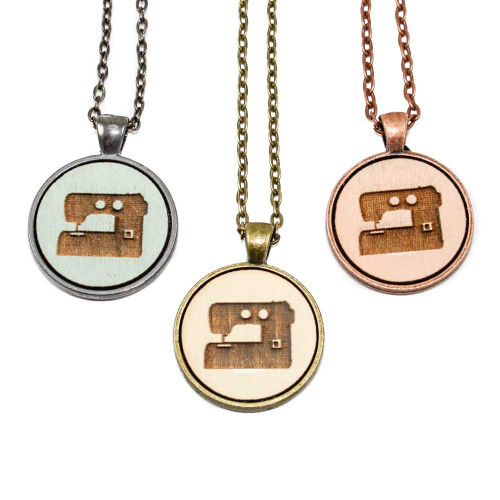 Small Cameo Pendants - Sewing Machine