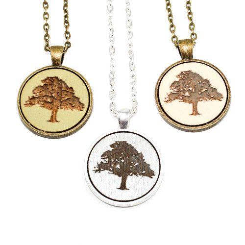 Small Cameo Pendants - Tree (Oak)