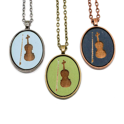 Small Cameo Pendants - Violin