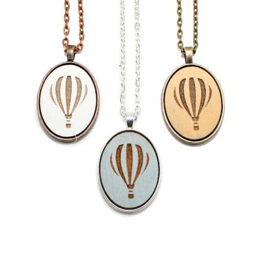Small Cameo Pendants - Hot Air Balloon