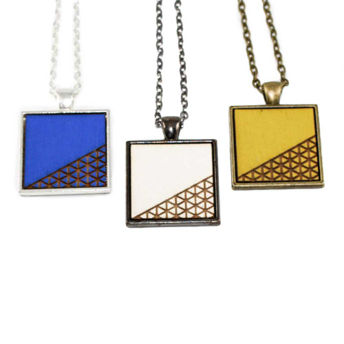 Small Cameo Pendants - Geometric Corner Crosshatch