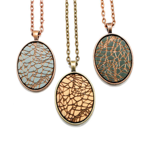 Small Cameo Pendants - Geometric Crackle Pattern