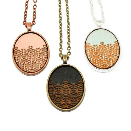 Small Cameo Pendants - Geometric Floral Pattern