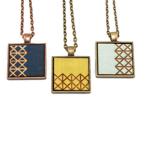 Small Cameo Pendants - Geometric Zigzag