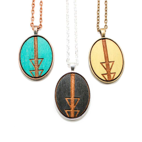 Small Cameo Pendants - Geometric Arrow (Split)