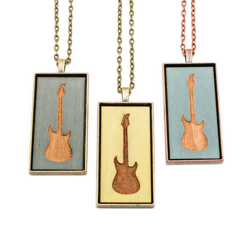 Large Cameo Pendant - Electric Guitar