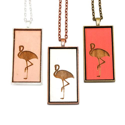 Large Cameo Pendant - Flamingo