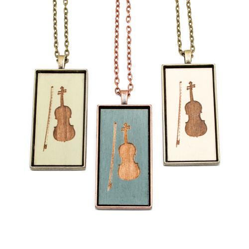 Large Cameo Pendant - Violin
