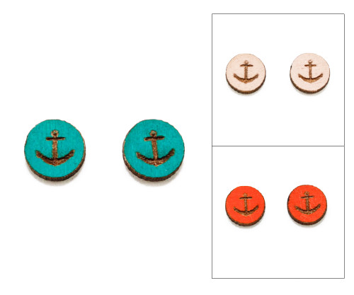 Cameo Post Earring - Anchor
