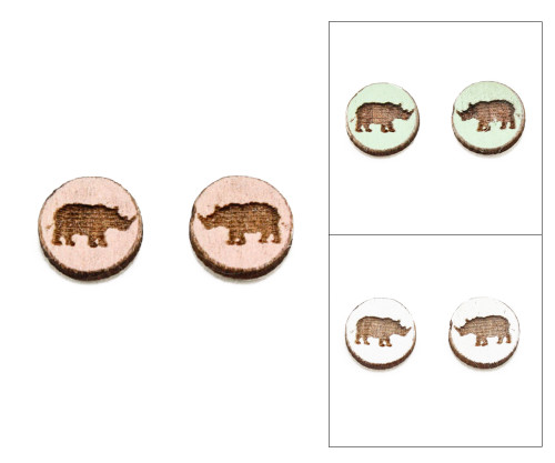 Cameo Post Earring - Rhino