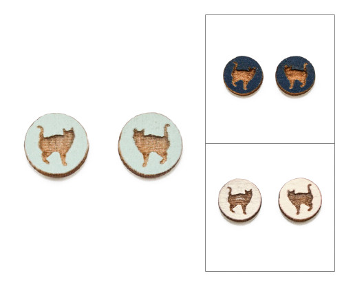 Cameo Post Earrings - Cat (#8)