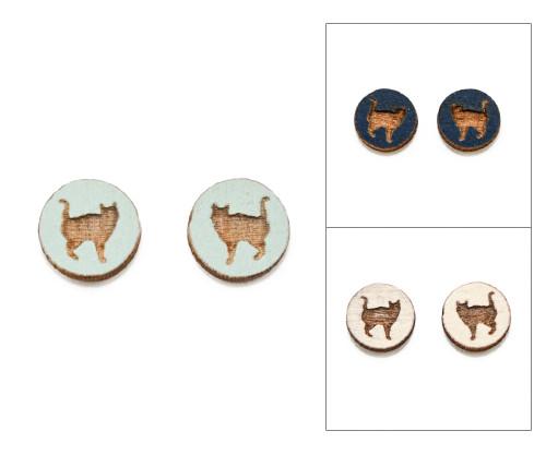 Cameo Post Earrings - Cat (#8)