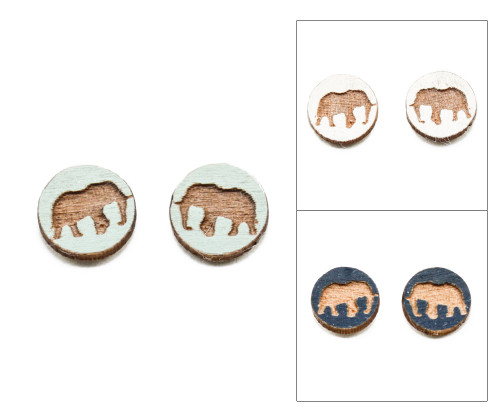 Cameo Post Earrings - Elephant