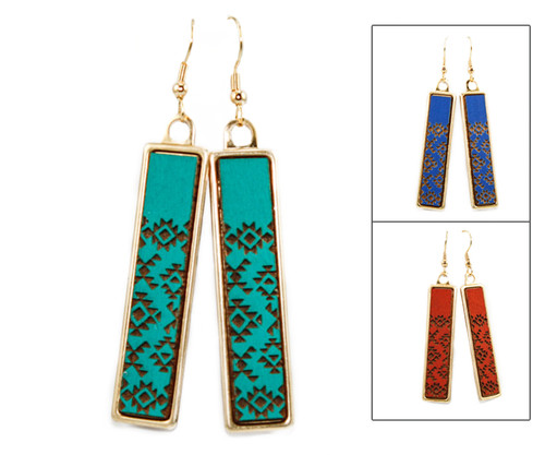 Geo Dangle Earring - Southwest Pattern