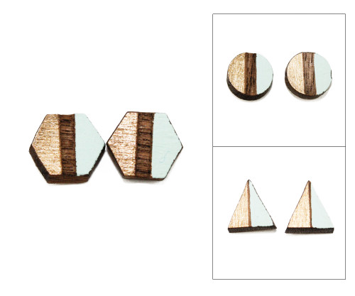 Geo Post Earrings - Aqua & Gold