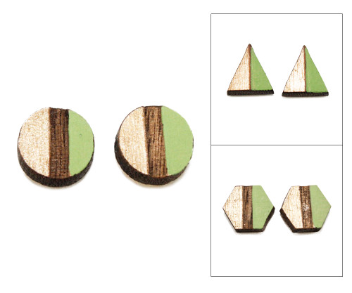 Geo Post Earrings - Apple Green & Gold