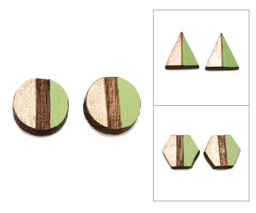 Geo Post Earrings - Apple Green & Gold