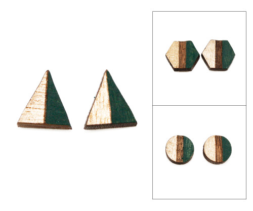 Geo Post Earrings - Emerald & Gold