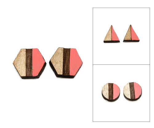 Geo Post Earrings - Coral & Gold