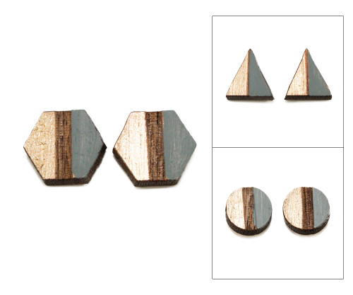 Geo Post Earrings - Charcoal Gray & Gold