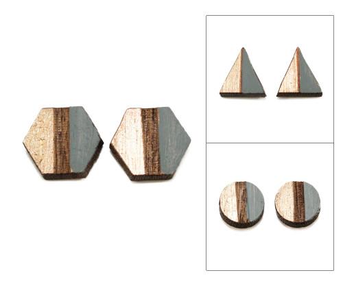 Geo Post Earrings - Charcoal Gray & Gold