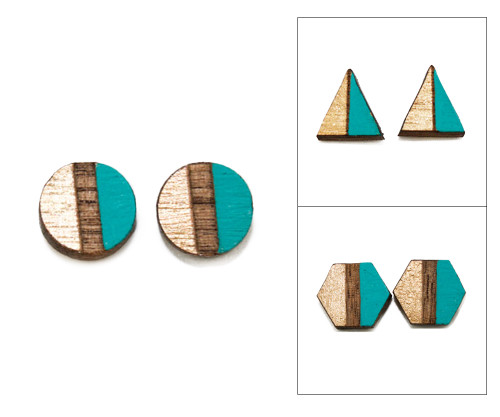 Geo Post Earrings - Turquoise & Gold
