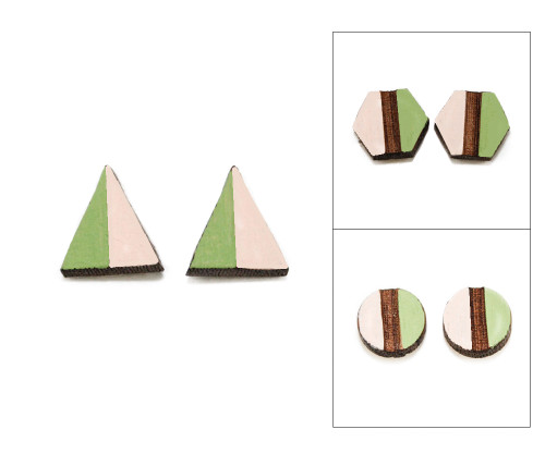 Geo Post Earrings - Pink & Apple Green
