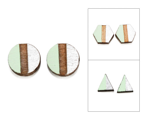 Geo Post Earrings - Mint Green & Silver
