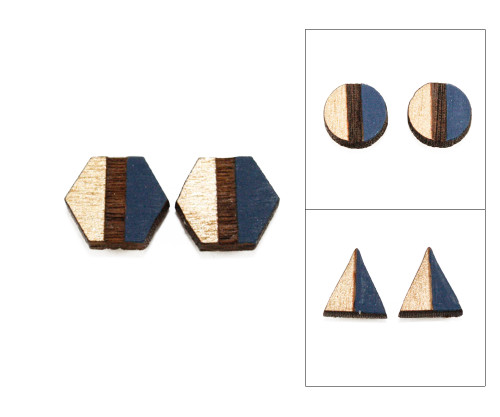 Geo Post Earrings - Navy Blue & Gold