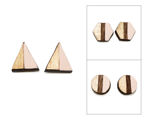 Geo Post Earrings - Pale Pink & Gold