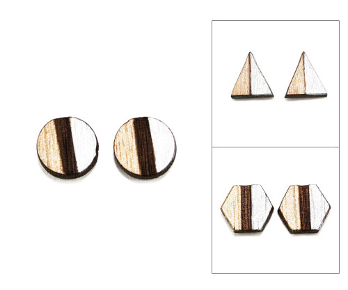 Geo Post Earrings - Gold & Silver