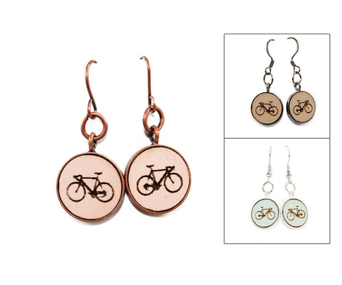 Small Dangle Earring - Bicycle