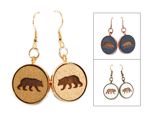 Large Dangle Earrings - Bear (Walking)