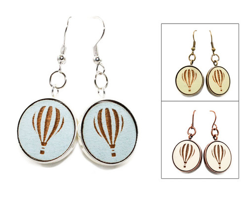 Large Dangle Earrings - Hot Air Balloon