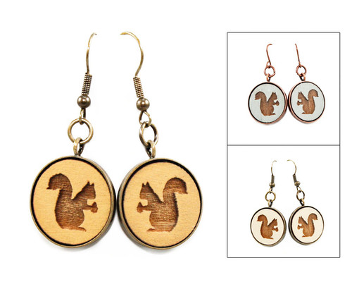 Large Dangle Earrings - Squirrel