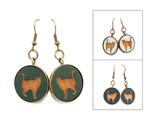 Large Dangle Earrings - Cat (#8)