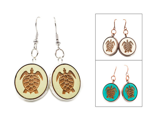 Large Dangle Earrings - Sea Turtle