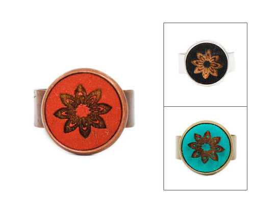 Small Cameo Ring - Modern Floral (Geo Floral)