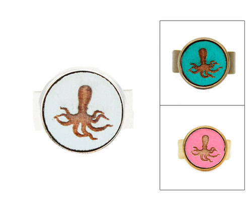 Small Cameo Ring - Octopus