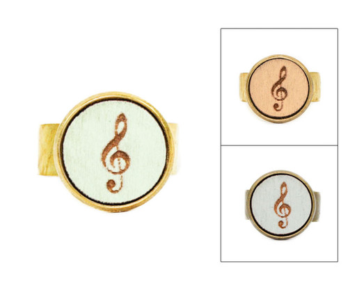 Small Cameo Ring - Treble Clef