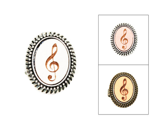 Large Cameo Ring - Treble Clef