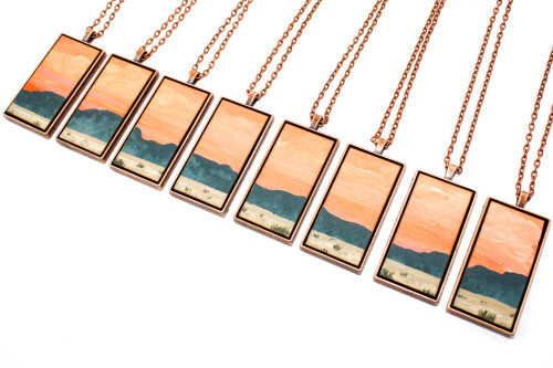 Landscape Painting Pendant - The Desert Mountains at Sunset
