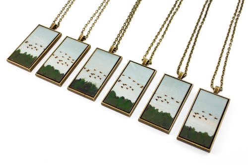 Landscape Painting Pendant - Birds Flying South