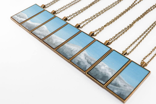 Landscape Painting Pendant - Snow Capped Mountains